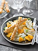 Fennel and orange salad ,parmesan-sesame seed bread fingers