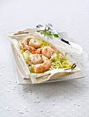 Scallop,gambas and tender leek papillote