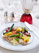 Fillet of sole with Sauternes,star-shaped potatoes and pan-fried vegetables and creamy sweet potatoes
