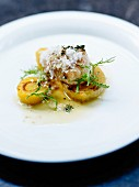 Scallops with winter roots and smoked ricotta