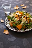 Pumpkin roasted in maple syrup ,walnut and raisin salad