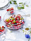 Red and summer berry fruit salad