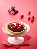 Chocolate-raspberry tartlet