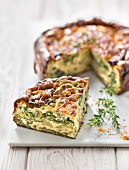 Lettuce and turmeric quiche
