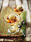 Roasted pinaapple with coconut,lime zests and a scoop of vanilla ice cream