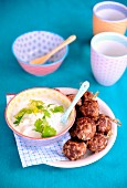 Lamb, rice and coriander meatballs, yoghurt sauce