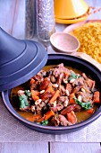 Beef, date and almond tajine