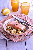 Salmon confit in olive oil,pasta and vegetables