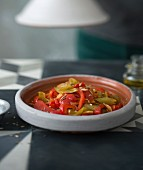 Tomato, bell pepper and chili pepper tajine