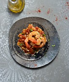 Shrimp, garlic and tomato tajine