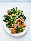 Lamb epigram with Swiss chard, chickpeas and mint
