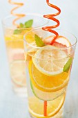 Citrus fruit and lemon balm detox water