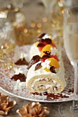 White chocolate,citrus fruit and jasmin Christmas rolled log cake