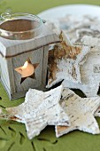 Wooden lantern and bark stars