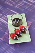 Strawberries dipped in chocolate and rosemary flower brochettes