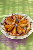 Plum,honey and rosemary thin tart
