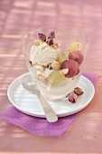 Rum-raisin ice cream,crushed hazelnuts and fresh grapes