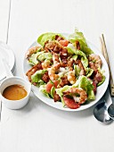 Shrimp,grapefruit and grilled bacon Asian salad