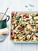 Oven-baked mixed vegetables with bacon