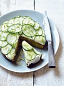 Cucumber,cream cheese and lime savoury cake
