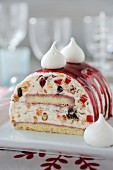 Christmas iced nougat log cake