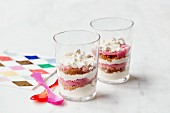 Rhubarb,lemon and speculos ginger biscuit cheesecakes