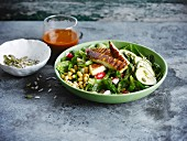 Corn lettuce salad with Halloumi