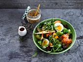 Rocket lettuce,broccoli,sweet potato and beetroot salad with smoked salmon