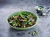 Spinach,chickpea and grilled aubergine salad