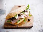 Mortadelle and blue cheese ciabatta bread sandwiches