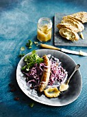 Turkey sausage with red cabbage and apple sauce