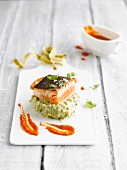 Salmon steak mi cuit on basil purée with a paprika sauce