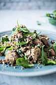 Stir-fried rice with mushrooms, lentils and spinach