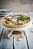 A savoury tart with mushrooms and goat's cheese