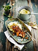 Salmon with soya sauce and mashed potatoes