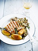Grilled pork escalope,mushrooms with parsley and potatoes with sage