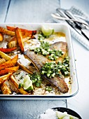Bass with lemon and cucumber,sweet potato and parsnip french fries