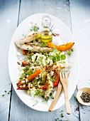 Millet,grilled turkey and squash salad