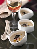 Cold cream of white haricot Paimpol bean soup with truffles