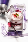 Espuma cream with crystallized rose petals