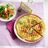 Waffle with cream cheese, rocket and pepper salad