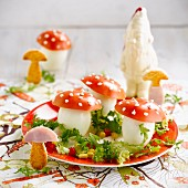 Mushroom-shaped hard-boiled eggs and tomatoes