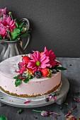 Homemade summer fruit and thyme ice cream cheesecake