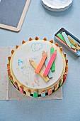 DRawing and crayon Birthday cake