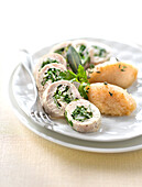 Chicken roulade with parsley and celery puree with nutmeg