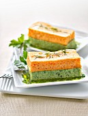 Mille-feuille of broccoli and carrot flans with parsley coulis