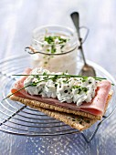 Crunchy ham sandwich with herbal whipped cream