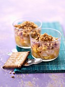 Verrine of lychees, mango and butter cookie crumbs