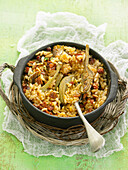 Baked rice with artichokes