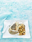 Grilled fresh cod with mushroom cream